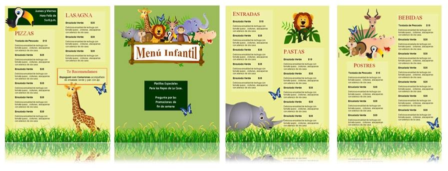 Dise o de plantilla para men infantil capacitaci n para for Disenos de menus para restaurantes