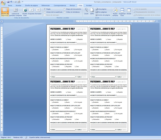 Formato para restaurante imagui for Formatos y controles para restaurantes gratis