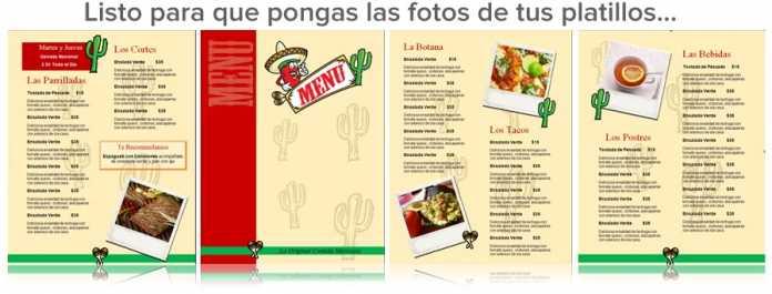 Plantilla Para Menu De Restaurante Comida Mexicana Capacitación