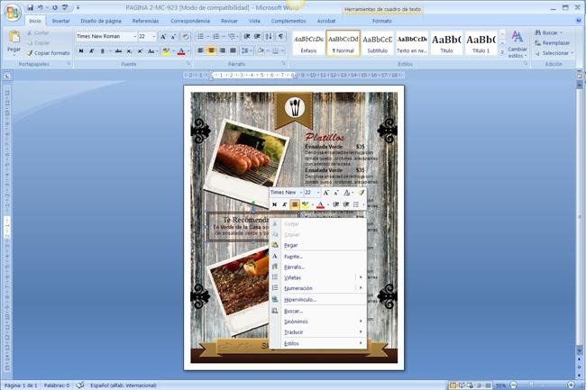 Como hacer un menu de restaurante en word imagui for Como crear un restaurante