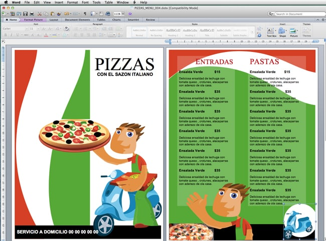Plantilla para menú de Pizzas – Pizzería | Capacitación para ...