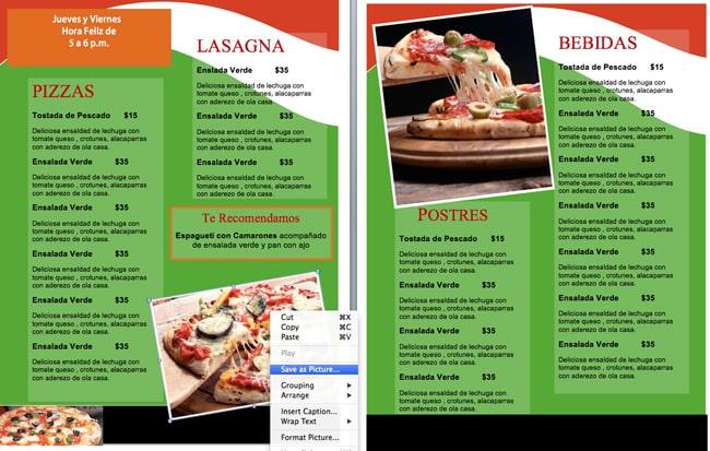 menus de para negocio de pizzas
