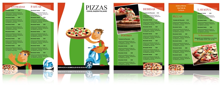 Plantilla para menú de Pizzas – Pizzería | Menus de Restaurantes ...