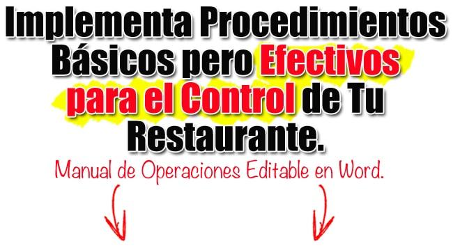 manual de oepraciones para restaurantes