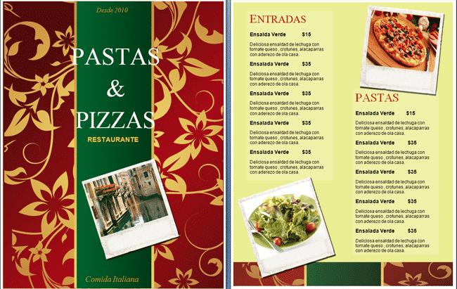 plantilla para menu italiano